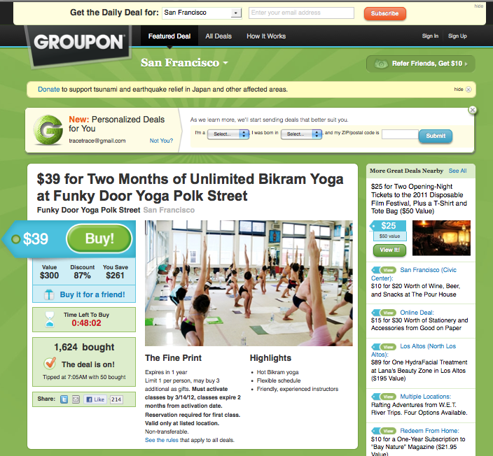 Another Day, Another Bikram Deal on Another Social Coupon Site…