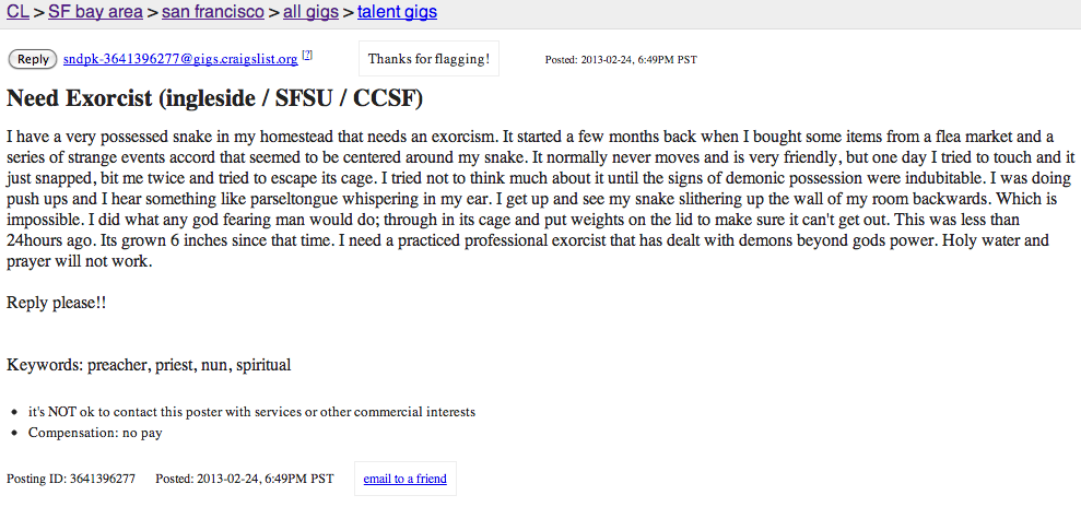 Favorites from Craigslist: Snake Exorcism