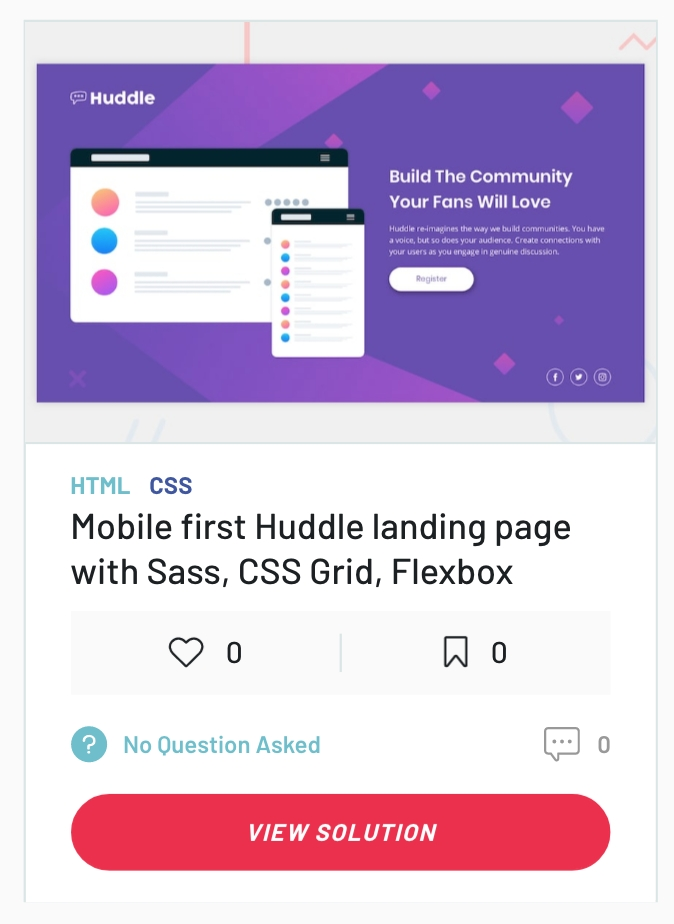 Screenshot of my solution to the Huddle landing page challenge